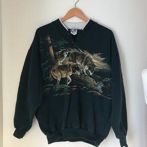 Vintage Collared Crewneck Sweatshirt with Wolves
